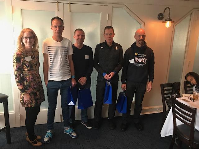 Liz Duclos-Orsello, BSSCA VP and Boston marathoner with Alsatian marathoners
